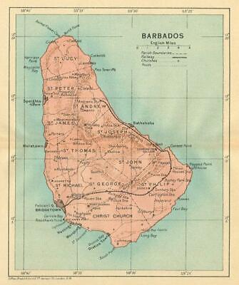 BARBADOS. Vintage map. West Indies Caribbean 1935 old vintage plan chart
