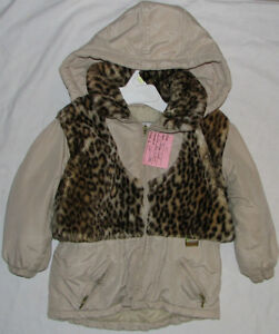Size 4 Girls Brown & Beige Winter Coat with faux print fur
