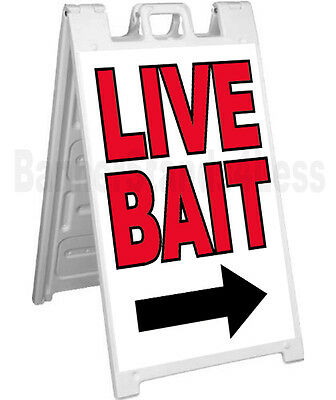 Live Bait A-frame Sign Sidewalk Pavement Fishing Tackle Banner Sign Signicade Wb