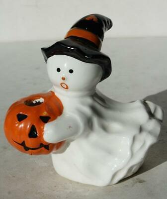 Ghost Figurine Holding Pumpkin Witch Hat Ceramic-Porcelain Candle Holder-Lego