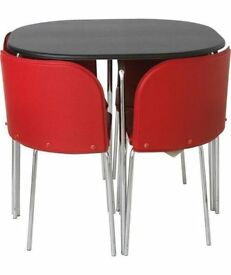 STOWAWAY SPACE SAVER DINING SET - Table, 4 chairs - Red and Black