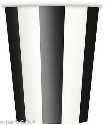 BLACK STRIPES 12oz PAPER CUPS (6) ~ Birthday Party Supplies Beverage Drinking (12 Oz Cups)