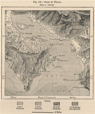 Gulf of Nicoya. Golfo de Nicoya. Costa Rica. Central America 1885 old map