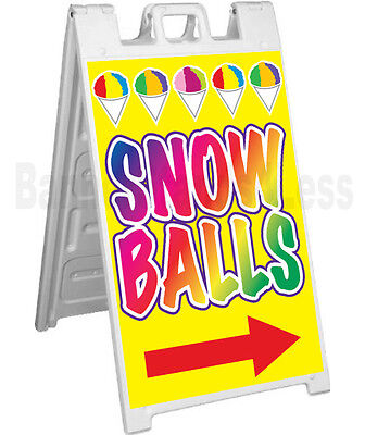 Snowballs Signicade A-frame Sign Sidewalk Sandwich Pavement Food Concession Sign