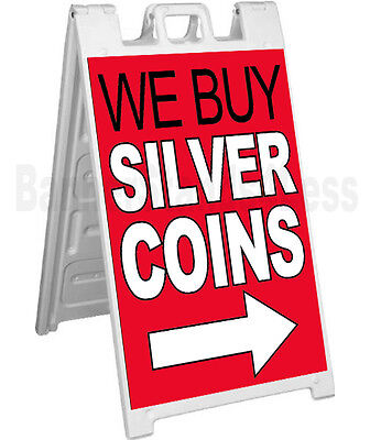 Signicade A-frame Sign Sidewalk Pavement Pawn Sign - We Buy Silver Coins Rb