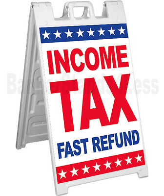 Income Tax Fast Refund A-frame Sign Sidewalk Signicade Pavement Sign - Stars