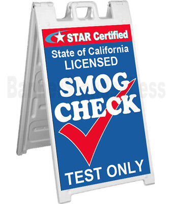 Signicade A-frame Sidewalk Pavement Sign - Star Certified Smog Check Test Only