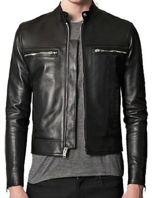 DE Herren Lederjacke Biker Men's Leather Jacket Coat Homme Veste En cuir R39c