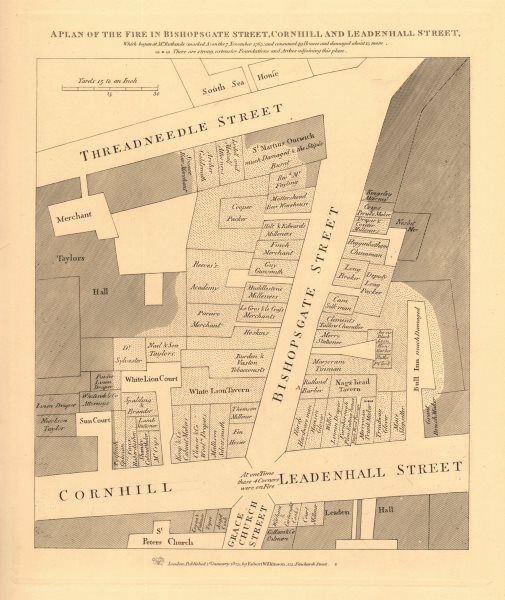 A plan of the 1765 BISHOPSGATE STREET FIRE. Cornhill Threadneedle St. 1834 map