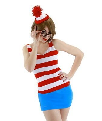 Where's Waldo, Wenda Adult Female Dress Costume Kit SMALL/MEDIUM NEW SEALED Wenda Kit