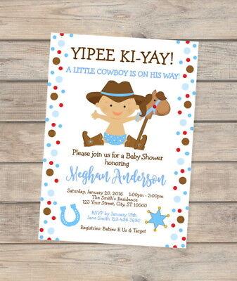 Little Cowboy Baby Shower Invitation, Western Baby Cowboy - Western Baby Shower