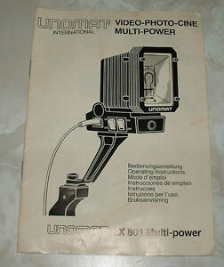 UNOMAT VIDEO LIGHT MANUAL MODEL LX801 MULTI POWER VINTAGE