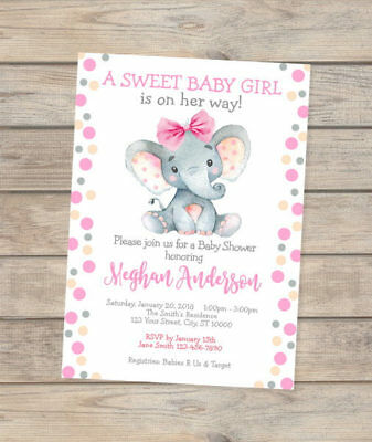 Elephant Baby Shower Invitation, Watercolor Elephant Custom Baby Girl Invites Customized Baby Shower Invitations