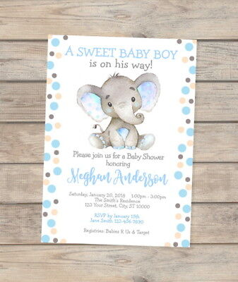 Elephant Baby Shower Invitation, Watercolor Elephant Custom Baby Boy Invites (Baby Shower Invites Boy)