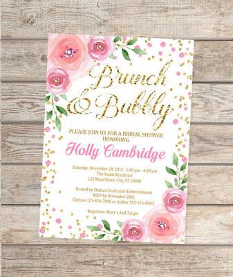 Custom Brunch And Bubbly Bridal Shower Invitation, Pink And Gold Brunch - Pink And Gold Bridal Shower Invitations
