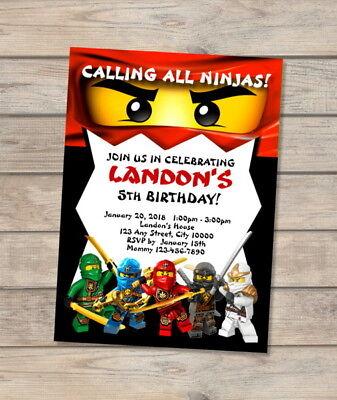 Ninjago Birthday Party Invitation, Custom Red Ninja Lego Ninjago Wu Cru Invites  (Ninjago Custome)