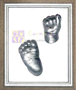Silver-Box-Framed-Newborn-Baby-Boy-Girl-Unisex-keepsake-gift-Hand-foot-casting