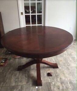 Dark oak round table