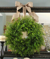 Boxwood Wreath w/ Natural Linen Bow/ Greenery Wreath/Wedding