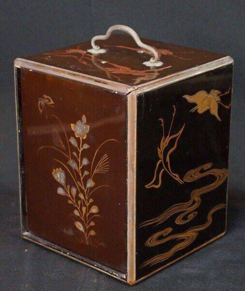 Antique lacquer Takara-bako Japan jewelry box 1890s Nurimono craft