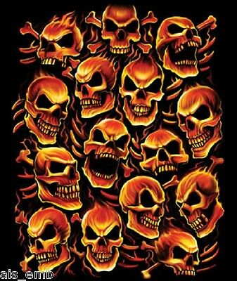 Flame Fire Skulls Heat Press Transfer For T Shirt Sweatshirt Tote Fabric 725a