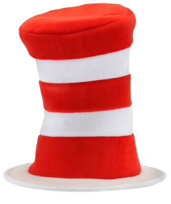 Dr. Seuss The Cat In The Hat Deluxe Velboa Costume Cat Hat, Adult NEW - Cat In The Hat Deluxe Costume