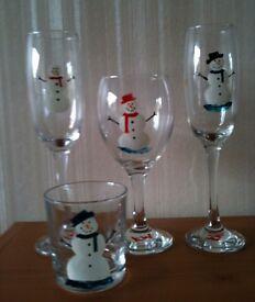 Handpainted bespoke Christmas glasses