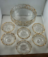 4U2C PRESSED GLASS FRUIT BOWL AND 6 NAPPIES WITH GOLD GILD