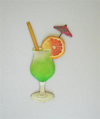 "13"" METAL ORANGE DAIQUIRI TROPICAL DRINK HAITIAN TIKI HANGING WALL ART DECOR"