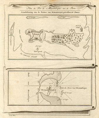 'Plan du Fort de Mozambique' Island. Sao Sebastiao. BELLIN/SCHLEY 1747 old map