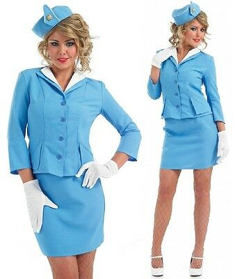 Damen Sexy Luft Stewardess Uniform Kostüm Outfit UK 8-26 - Stewardess Kostüm Übergröße