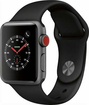 Apple Watch Gen 3 Series 3 Cell 38mm Space Gray Aluminum - Black Sport Band
