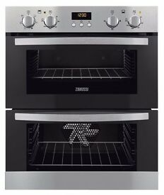 Zanussi Double Cavity Built-under Electric Oven model ZOF35511XK. Still in manufacturer's wrapper