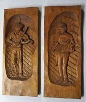 Two Vintage Quebec Wood Carving by Caron - 3-D Wall Plaques