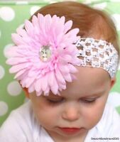 "girl hair bow clip and 1.5""crochet headband-NEW!!!"