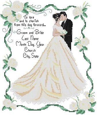 Wedding Dress Marriage Bride and Bridegroom Love Kiss Cross Stitch Pattern