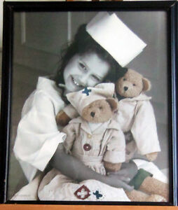 LITTLE RED CROSS NURSE/ADORABLE PICTURE WITH TEDDY BEAR PATIENTS London Ontario image 1