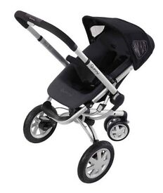 Quinny buzz pushchair in black with maxi cosi car seat and rocking black quinny carry cot included