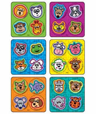 48 Jungle Zoo Farm Animal Dot  Stickers Party Favors Teacher Supply Rewards
