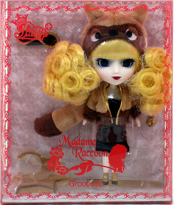 "Jun Planning Groove LP-420 LITTLE PULLIP MADAME RACCOON Doll 4.5"" NIP mini"