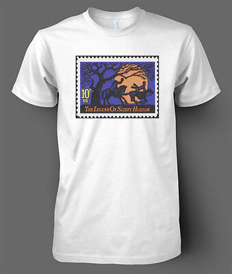 T-SHIRT Halloween Sleepy Hollow stamp postage Americana horror gothic T - Halloween Sleepy Hollow