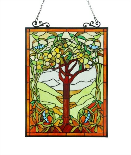 """25"""" H x 18 W Tiffany Style Stained Glass Window Panel Tree of Life"""