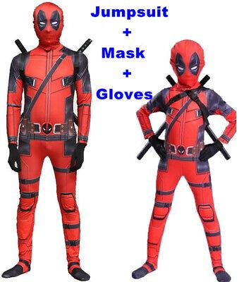 Kinder Erwachsene Deadpool Cosplay Kostüm Jumpsuit Overall Bodysuit - Deadpool Bodysuit