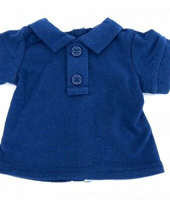 "Lovvbugg Navy Blue Polo T Shirt 2-Button for 18"" American Girl or Boy Doll Clothes"