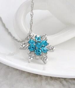 Blue Crystal Snowflake Necklace for sale, ONLY $2