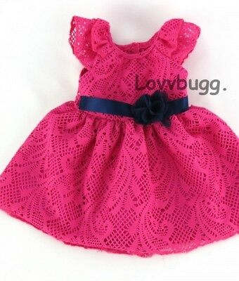"""Hot Pink Lace Bubble Dress for American Girl 18"""" or Baby 15"""" Doll Clothes TRU US"""