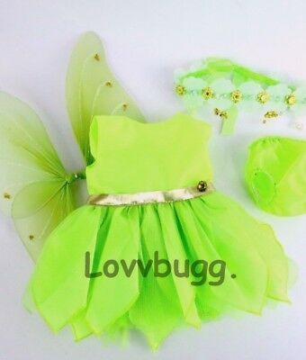 Green TinkerBell Costume for American Girl Doll and Bitty Baby LOVV LOVVBUGG!