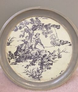 12 inch Toile chic wooden accent plate.