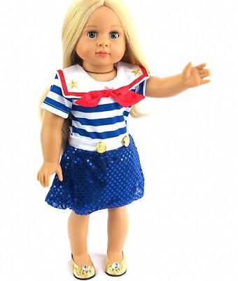 Red White Blue Glitzy Patriotic Sailor Dress for 18