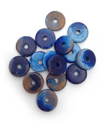 Keramik Scheiben blau gefleckt 13mm 15 Stück griechische Keramikperlen rund ()